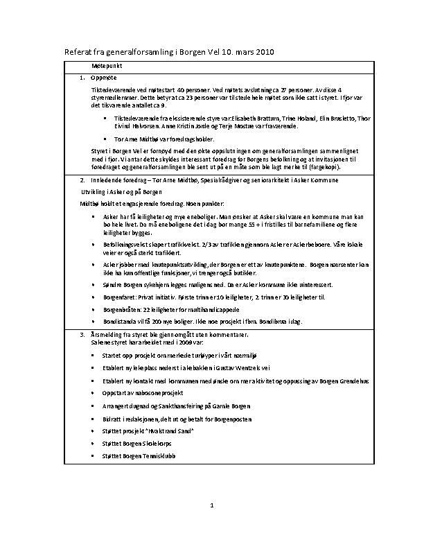 BV 2010 Årsmøte – Referat