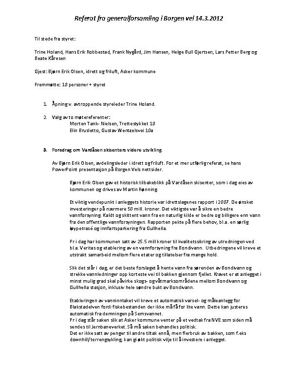 BV 2012 Årsmøte – Referat